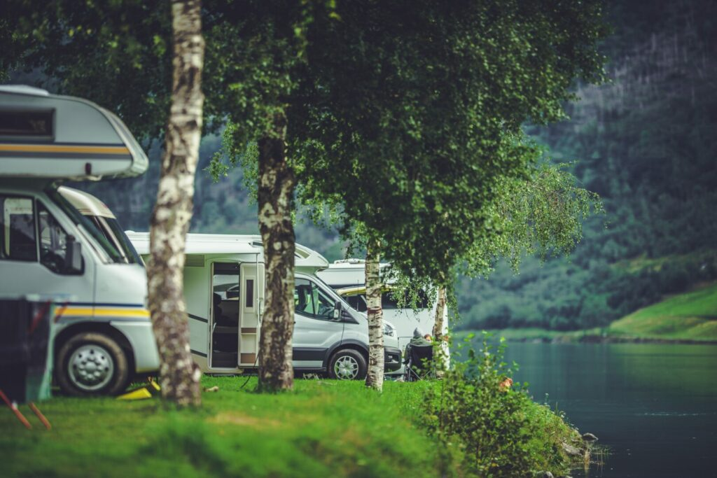 RV park located beside a lake.