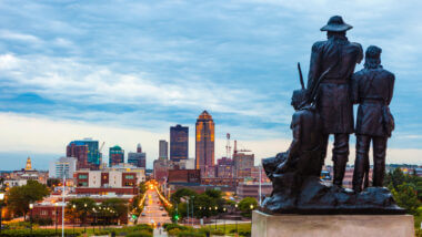 A skyline view of Des Moines Iowa from the capitol building.