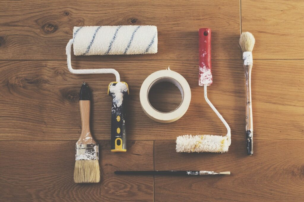 Tools needed for painting RV cabinets.
