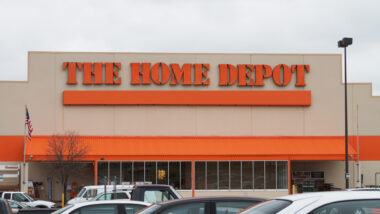 A Home Depot parking lot view, but inside you can get RV supplies.