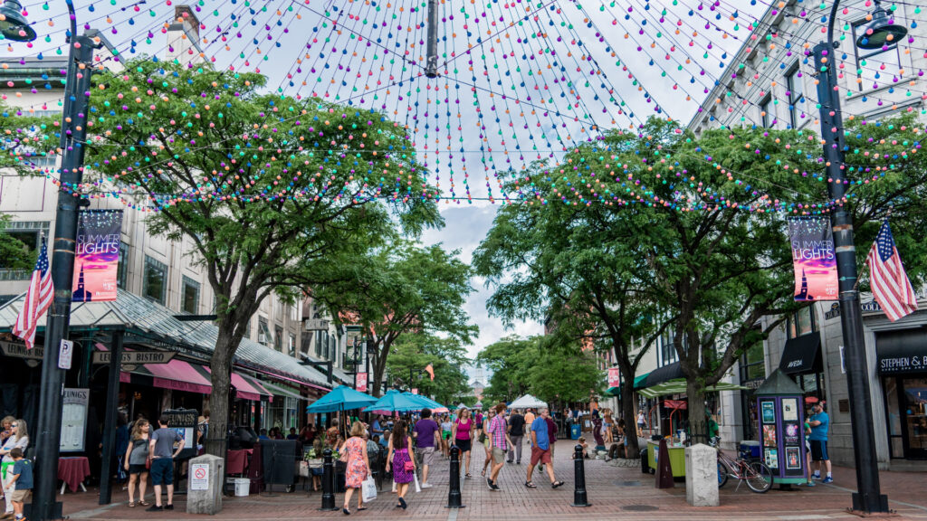 Church street marketplace is a happening place to be in Burlington, Vermont.