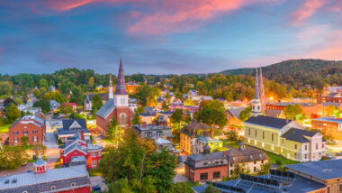 Burlington Vermont lights up the in the evening sky.