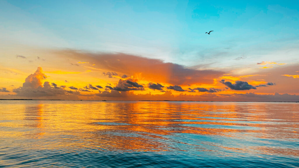 A bright orange and blue sunset over the water in Florida.