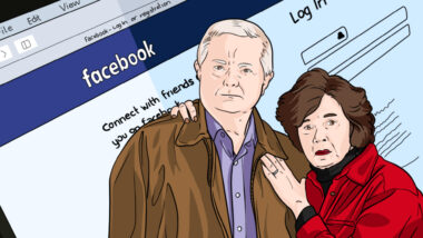 cartoon image of a man and woman looking shocked with the facebook login page in the background