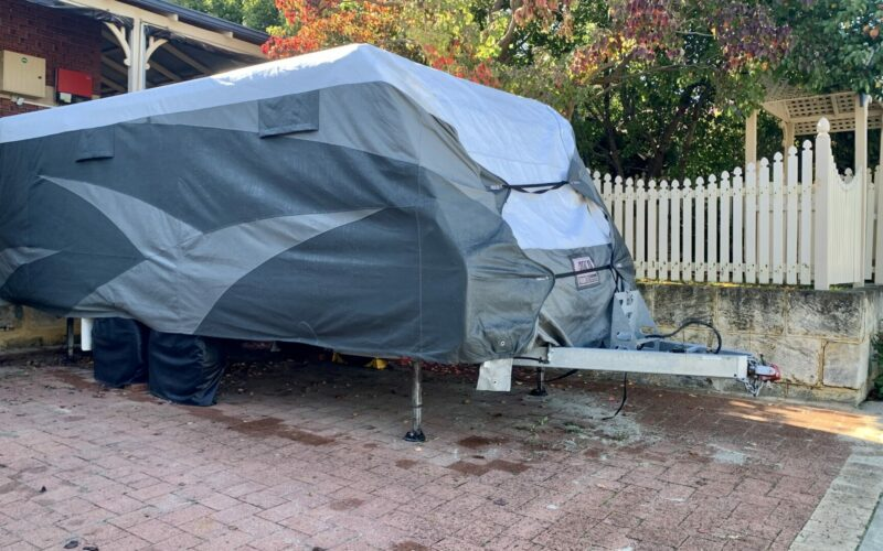 RV cover on a parked camper.