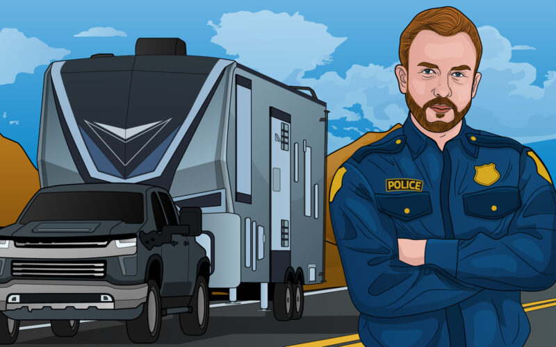 cartoon drawing of a police officer that has pulled over a fifth wheel with someone riding in the back