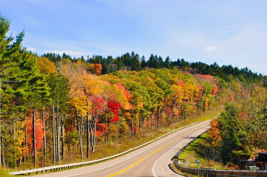 Open road winding through the autumnal colors in New England