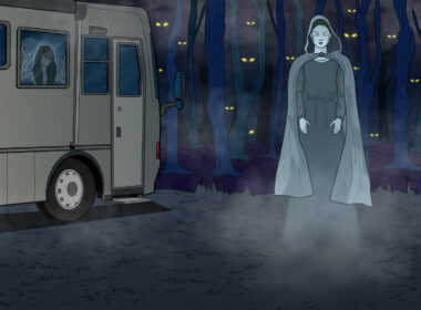 illustration of a ghostly women standing in front of an RV in the woods