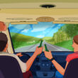 Cartoon drawing of a couple driving in an RV holding beer bottles
