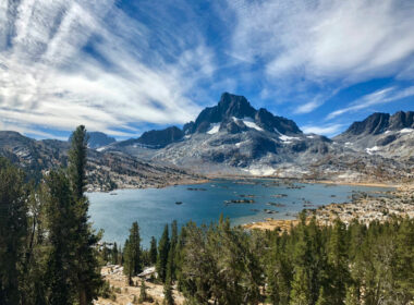 thousand island lake along the john muir trail in Inyo National Forest