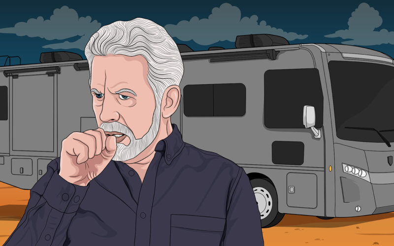 Cartoon drawing of a older man coughing into his hand with his RV in the background