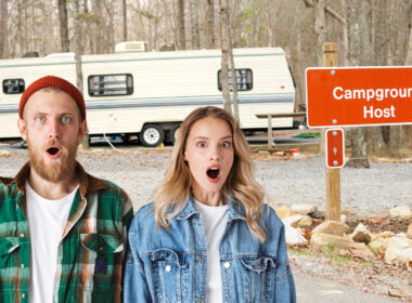 """a couple looking shocked in front of a sign that says """"campground host"""""""